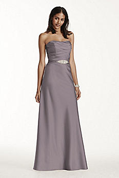 Strapless Long Satin Dress with Crystal Belt F17034