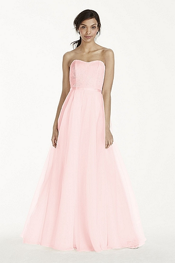 Long Strapless Chantilly Lace Organza Dress F17039