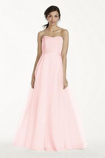 Long Strapless Chantilly Lace Organza Dress F17039