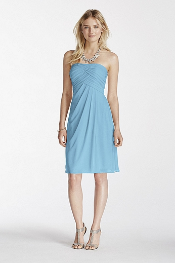 Short Strapless Mesh Dress with Pleated Bodice F17048