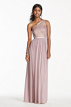 Long One Shoulder Metallic Lace and Mesh Dress F17063M