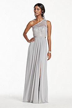 Metallic Extra Length One Shoulder Mesh Dress 4XLF17063M
