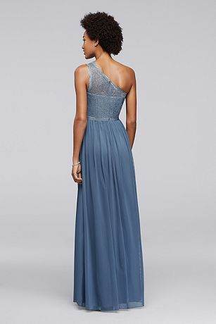David S Bridal Long One Shoulder Metallic Lace And Mesh