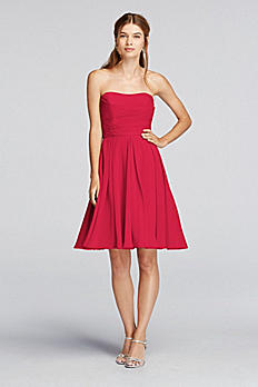 Short Strapless Crinkle Chiffon Dress F18028