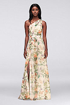 Asymmetric One Shoulder Printed Chiffon Dress 4XLF18055P