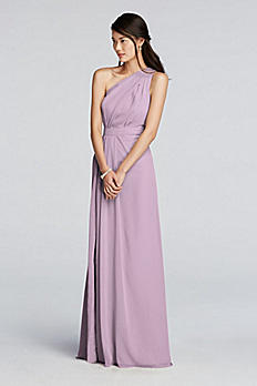 Long One Shoulder Chiffon Dress F18055