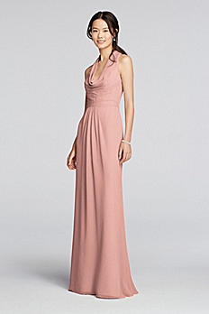 Long Chiffon Dress with Front Cowl Neckline F18073