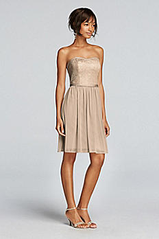 Short Strapless Metallic Lace Bridesmaids Dress F18094M
