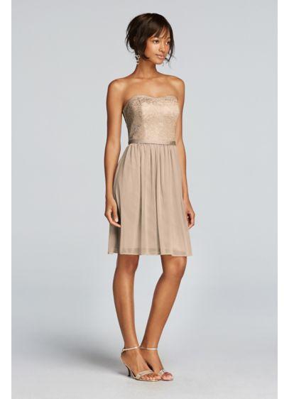 Short Blue Soft Flowy David S Bridal Bridesmaid Dress