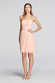 Short Strapless Metallic Lace Bridesmaids Dress F18094M
