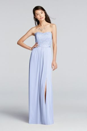 Lace and Mesh Long Strapless Dress - Davids Bridal