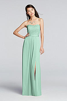 Lace and Mesh Long Strapless Dress F18095