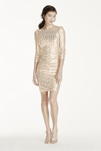 3/4 Sleeve Sequin Short Dress with Cowl Back F19021