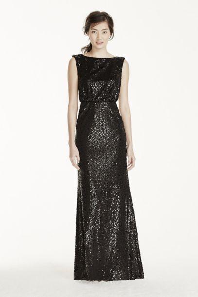 Extra Length Sequin Blouson Dress | David's Bridal