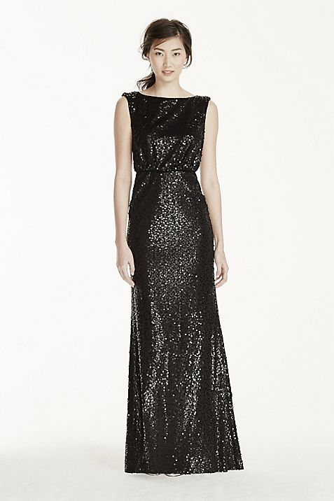 Long Sequin Blouson Dress | David\'s Bridal