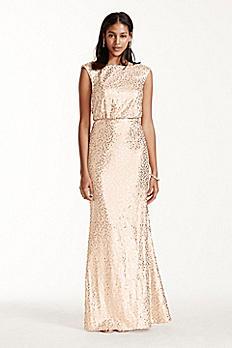 Long Sequin Blouson Dress F19022