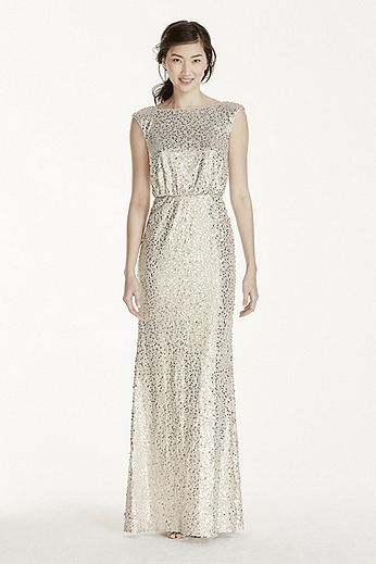 Long Sequin Blouson Dress F19022