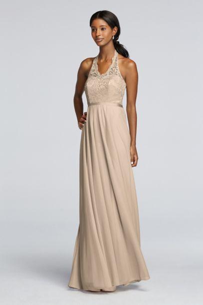 Long Metallic Dress with Lace Halter Bodice   David's Bridal