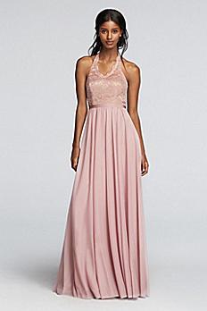 Long Metallic Dress with Lace Halter Bodice F19025M