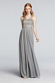 Long Haltered Metallic Mesh Dress with Lace Bodice 4XLF19025M