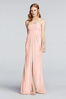 Strapless Metallic Mesh and Lace Dress 4XLF19030M