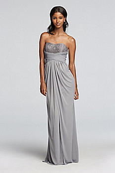 Strapless Metallic Dress with Pleated Waist F19030M