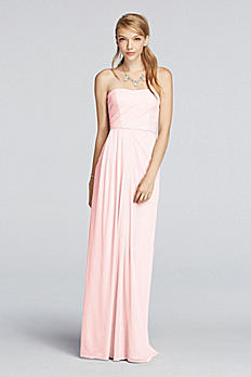 ff6bcaed8e11d Turmec » david bridal long strapless chiffon dress with pleated bodice
