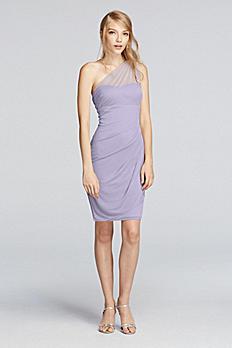 Short Illusion One Shoulder Dress F19038