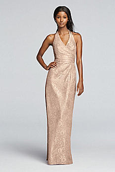 All Over Metallic Lace Halter Sheath Dress F19040M