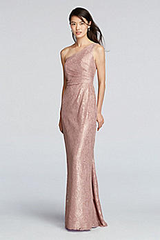 One Shoulder Bridesmaids Dress with All Over Lace F19042M