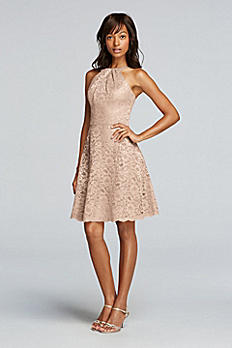 Metallic Short All Over Lace Dress with Y Neck F19047M