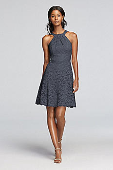 Short All Over Lace Dress with Y Neck F19047