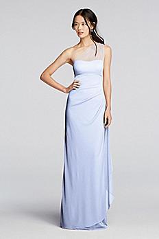 Long Mesh One Shoulder Illusion Dress F19074