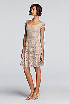 Short Lace Bridesmaid Dress with Cap Sleeves F19095