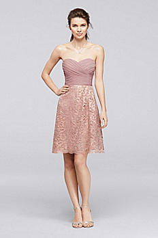 Short Metallic Lace Bridesmaid Dress with Pleating F19217M