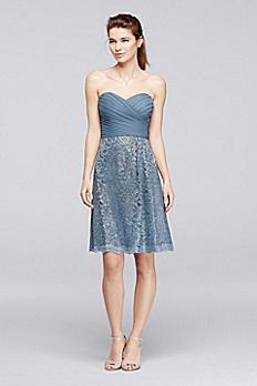 Extra Length Metallic Lace Bridesmaid Dress 2XLF19217M