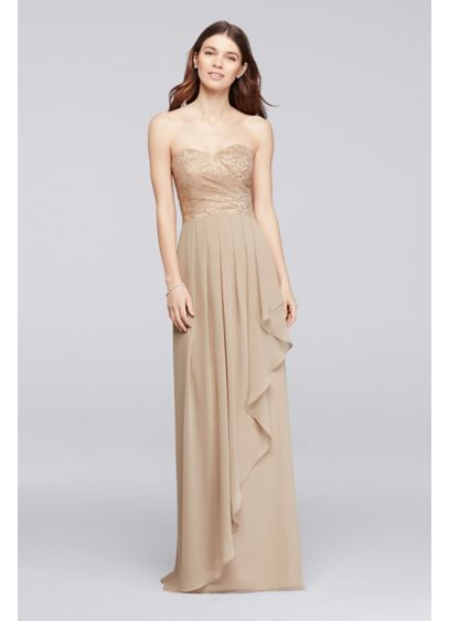 Long Yellow Soft Flowy David S Bridal Bridesmaid Dress