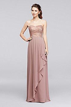 Long Sweetheart Metallic Ruffled Bridesmaid Dress F19252M