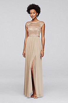 Long Metallic Bridesmaid Dress with Lace Bodice F19328M