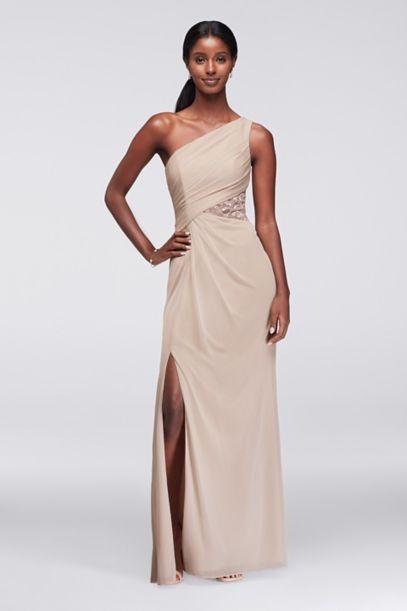 Metallic One-Shoulder Dress with Side Lace Inset | David's Bridal