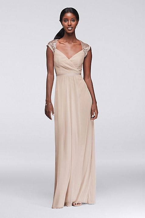 Long Mesh Dress with Metallic Lace Cap Sleeves | David\'s Bridal