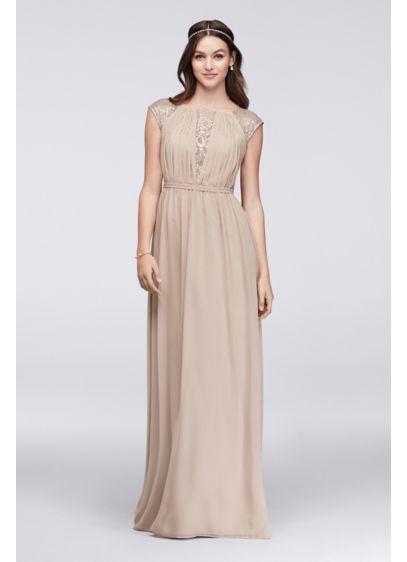 Long Blue Soft Flowy David S Bridal Bridesmaid Dress