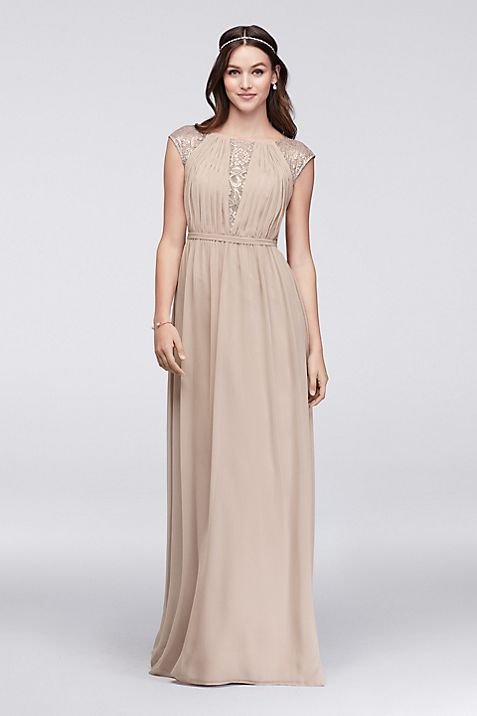 Chiffon Bridesmaid Dress with Metallic Lace Inset | David\'s Bridal