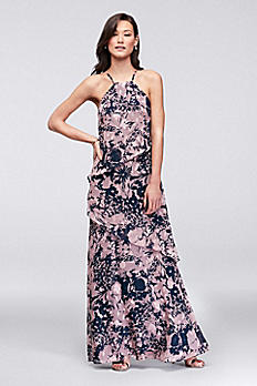 Waterfall Tier Printed Georgette Bridesmaid Dress F19762P