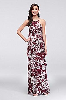 Printed Georgette Waterfall Tier Bridesmaid Dress 4XLF19762P