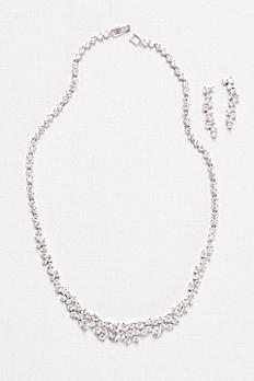 Cubic Zirconia Wave Necklace and Earrings Set F2001