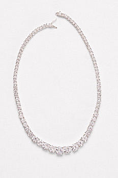 Graduated Cubic Zirconia Solitaire Necklace F2003