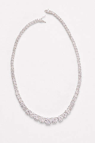 Bridal wedding necklaces davids bridal graduated cubic zirconia solitaire necklace junglespirit Image collections