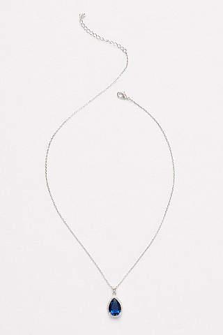 Bridal wedding necklaces davids bridal pear sapphire pendant necklace junglespirit Image collections
