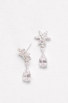 Cubic Zirconia Flower Drop Earrings F2010